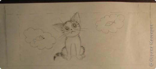 Обещанный МК) Делаем чашку с мечтательным котенком. Не судите строго, мой первый опыт создания МК  фото 3