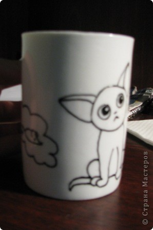 Обещанный МК) Делаем чашку с мечтательным котенком. Не судите строго, мой первый опыт создания МК  фото 5