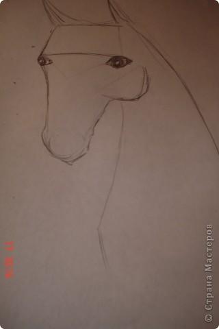 Рисуем лошадь.На листе бумаги примерно посередине нарисовать трапецию,треугольник, полукруг и круг. фото 5
