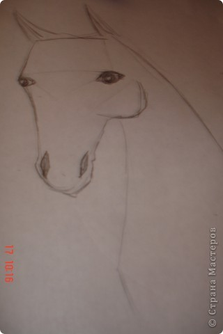 Рисуем лошадь.На листе бумаги примерно посередине нарисовать трапецию,треугольник, полукруг и круг. фото 7