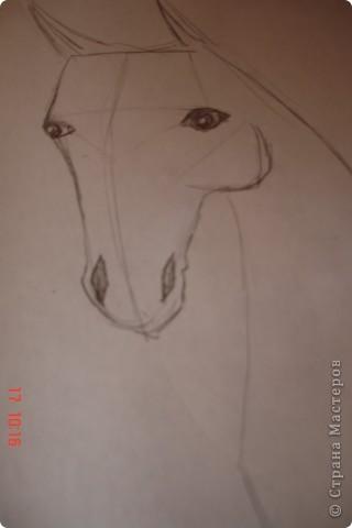 Рисуем лошадь.На листе бумаги примерно посередине нарисовать трапецию,треугольник, полукруг и круг. фото 8