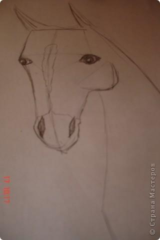 Рисуем лошадь.На листе бумаги примерно посередине нарисовать трапецию,треугольник, полукруг и круг. фото 9
