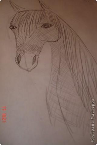 Рисуем лошадь.На листе бумаги примерно посередине нарисовать трапецию,треугольник, полукруг и круг. фото 12