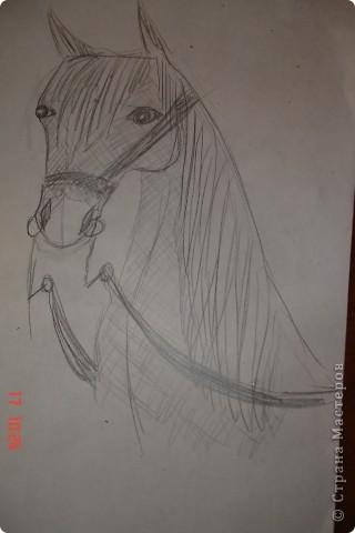 Рисуем лошадь.На листе бумаги примерно посередине нарисовать трапецию,треугольник, полукруг и круг. фото 13