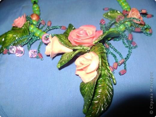 Вот, что получилось.....Розочки и листики покрыла лаком. Соеденяла при помощи горячего клея.  фото 1