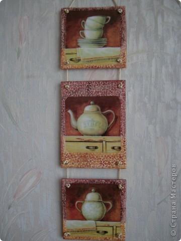 После изготовления панно с поварами остался небольшой кусочек фанеры.Из него получилось такое панно для кухни.Размеры 11х11см,11х15,11х11. фото 7