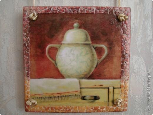 После изготовления панно с поварами остался небольшой кусочек фанеры.Из него получилось такое панно для кухни.Размеры 11х11см,11х15,11х11. фото 2