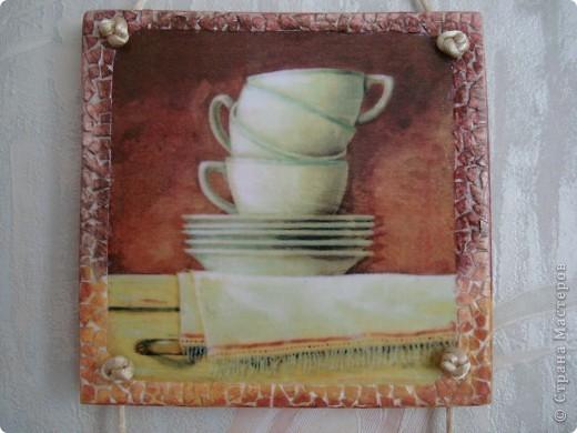 После изготовления панно с поварами остался небольшой кусочек фанеры.Из него получилось такое панно для кухни.Размеры 11х11см,11х15,11х11. фото 4