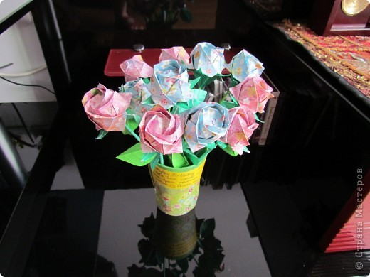 These origami roses were made by my daughter for my birthday.
