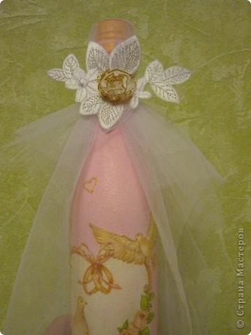 бутылочка на рубиновую свадьбу, на тубусе как бы кольцо с рубином фото 2