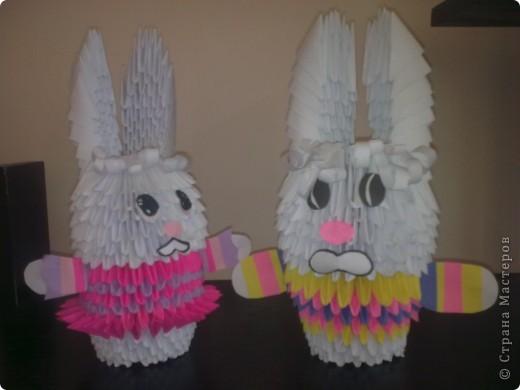 Мои первые работы.Оригами-зайчики.
