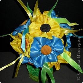 Давно хотела сделать дерево с цветочками из ткани. Вот что получилось! фото 1