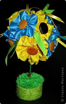 Давно хотела сделать дерево с цветочками из ткани. Вот что получилось! фото 2