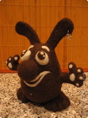 Шоколадный заяц. Размер: 13х13 см. 100% шерсть. Техника сухого валяния. фото 2