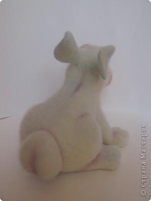 Заяц Сеня. Размер: 20х25 см. 100% шерсть, стеклянные глазки. Техника сухого валяния. фото 3