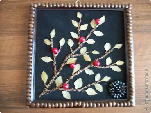 Рамку кофе выложила,листочки из лаврового листа,стебли из семян сосны,ягоды бусины. фото 1