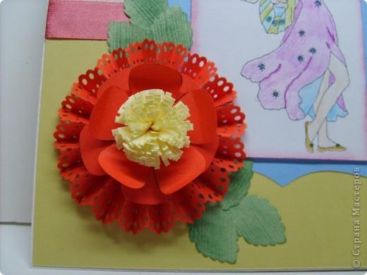 Еще одна открыточка с гофрированным цветком.  фото 2
