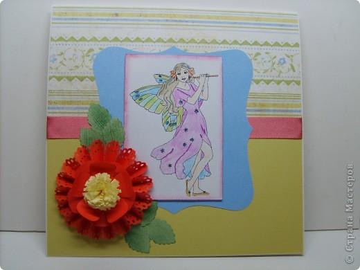 Еще одна открыточка с гофрированным цветком.  фото 1