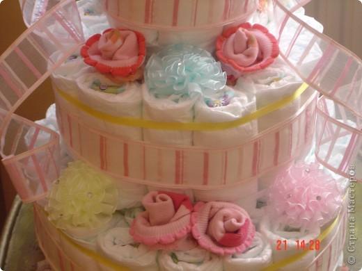 Наконец-то представилаь возможность попробовать изготовить вот такой торт из памперсов для своей ненаглядной внученьки Викули. У нас первая круглая дата - нам полгодика! Мне очень понравился, но судить вам. фото 2