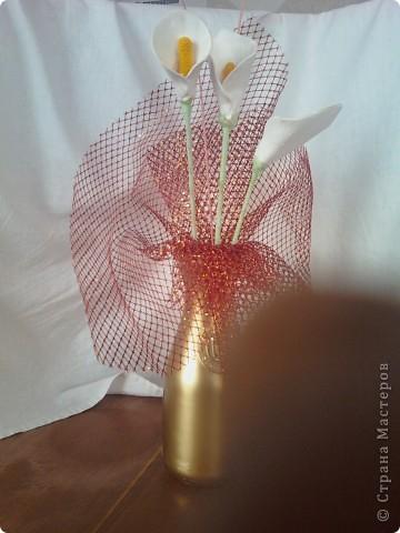 Флористическая композиция . Калы  из пластики. фото 1