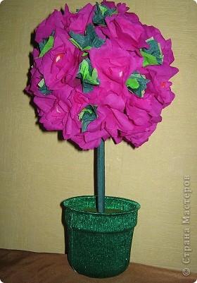 Так давно хотела сделать дерево из розочек сложной формы. фото 2