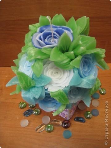 Свеча голубые розы) фото 1