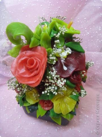 Свеча голубые розы) фото 3