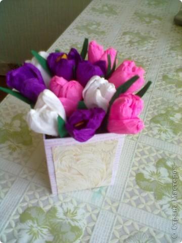 Такой букетик подарила подруге на 8 марта. Сделан по МК Татьяны Простняковой. Спасибо за такую красоту. фото 1