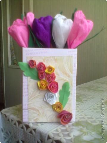 Такой букетик подарила подруге на 8 марта. Сделан по МК Татьяны Простняковой. Спасибо за такую красоту. фото 2