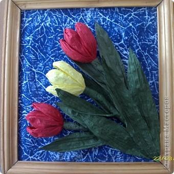 Вот такие тюльпаны расцвели у нас с Танюшкой. Сделаны они из бумажных раскрученных веревок, есть такие в наборах для творчества.  фото 2