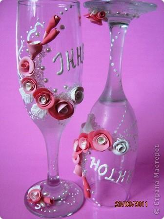 Вот и попробовала я себя в создании свадебных бокалов. Давно готовилась (морально). Просмотрела множество  работ мастериц и вот, что у меня получилось... фото 1