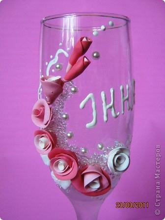 Вот и попробовала я себя в создании свадебных бокалов. Давно готовилась (морально). Просмотрела множество  работ мастериц и вот, что у меня получилось... фото 3