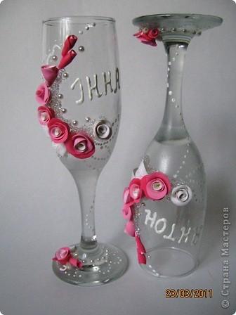Вот и попробовала я себя в создании свадебных бокалов. Давно готовилась (морально). Просмотрела множество  работ мастериц и вот, что у меня получилось... фото 6