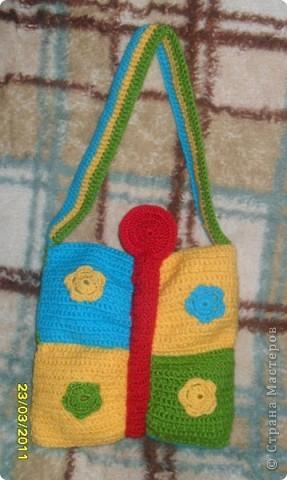 Мне очень понравилась сумка-бабочка, которую я увидела на этом сайте! Захотела связать такую же для маленькой племянницы Вероники! фото 5