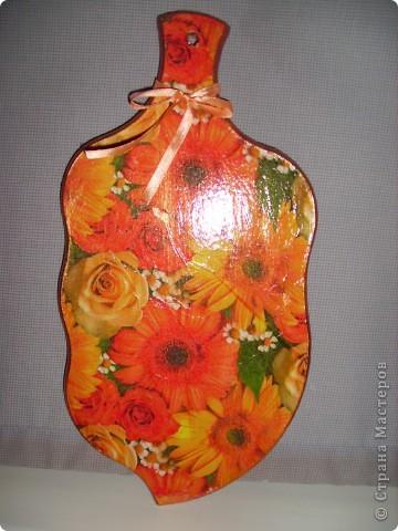 """Досочка  """"Осень"""". заготовка, салфетка, акриловые краски, лак. фото 2"""