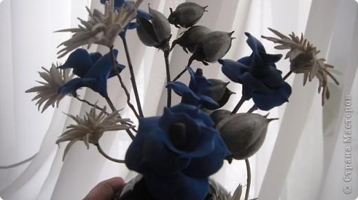 Я решила разбавить свою страничку цветами. Букетик давно уже стоит у мамы. Те кто посещает мои страницы видели розы -голубые. Просто пластику синию никуда тогда не могла применить. Я думала что это моя фантазия, но вот Олечка -Tiksi подсказала мне , что они действительно существуют, а потом я их и в интернете увидела. фото 6