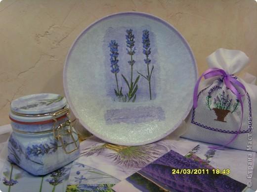 Вот такой лавандовый комплект для кухни... тарелочка на стенку, баночка, мешочек для всяких травок. фото 1