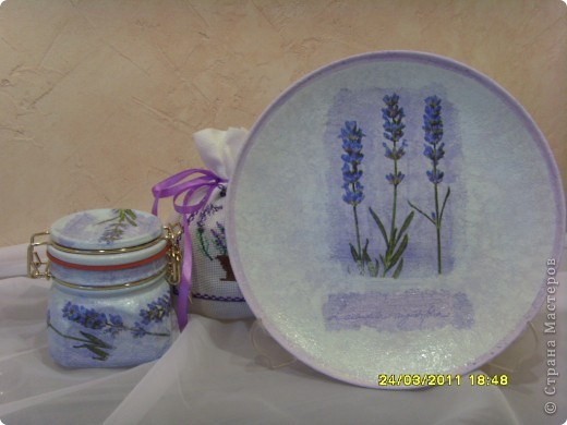 Вот такой лавандовый комплект для кухни... тарелочка на стенку, баночка, мешочек для всяких травок. фото 6