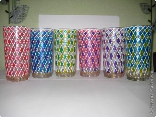 """Для одной сестры - набор стаканов с росписью """"Калейдоскоп""""... фото 1"""