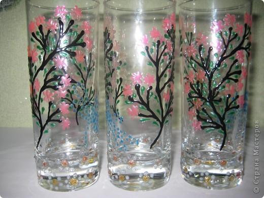 """Для одной сестры - набор стаканов с росписью """"Калейдоскоп""""... фото 12"""