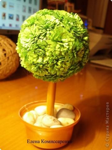 Цветочный шар. Состоит из трех составляющих: Шар из ниток, вазон, Цветы в технике квиллинг фото 2