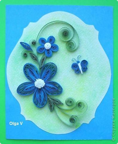 Продолжаю изучать основы квиллинга.  Недавно увидела  на любимом корейском сайте http://blog.naver.com/paper6262 этот замечательный синий цветок. Решила попробовать сделать такой же. фото 1