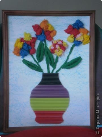 Цветы из гофрированной бумаги фото 3
