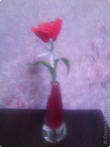 Это мой первый цветок в технике бисероплетение. фото 4