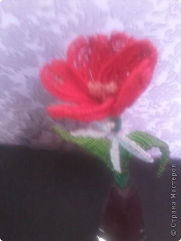 Это мой первый цветок в технике бисероплетение. фото 3
