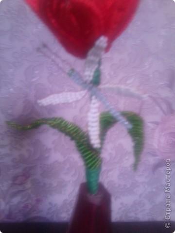 Это мой первый цветок в технике бисероплетение. фото 2