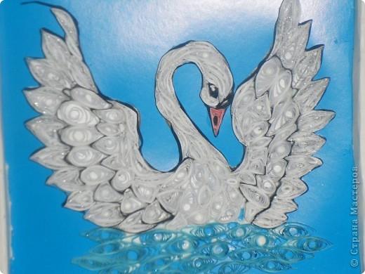 Лебедь квиллинговый красота фото 2