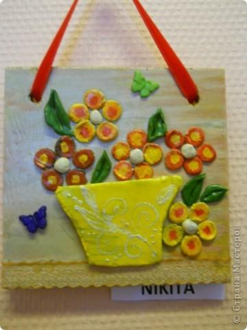 основа-дерево,глина,,, фурнитура-бумажные цветы,различная сетка,пуговицы,,,, покраска- акриловые краски фото 8