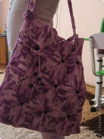 Вот результат моего недельного творения-сумка на лето для себя любимой!!!! Восхищаюсь мастерицами которые вяжут эту красоту за один два дня-ДЕВОЧКИ ВЫ МОЛОДЦЫ!!!! фото 1