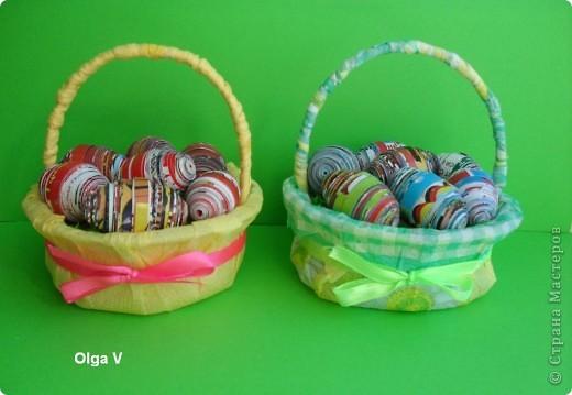 Готовимся к Пасхе. Очень понравились яйца из журнальных листов на корейском сайте http://blog.naver.com/paper6262 Только там подарочные яйца, в которых внутри конфетки.  Я решила сделать пасхальные яйца из журнальных и рекламных листов в корзинке.  фото 6